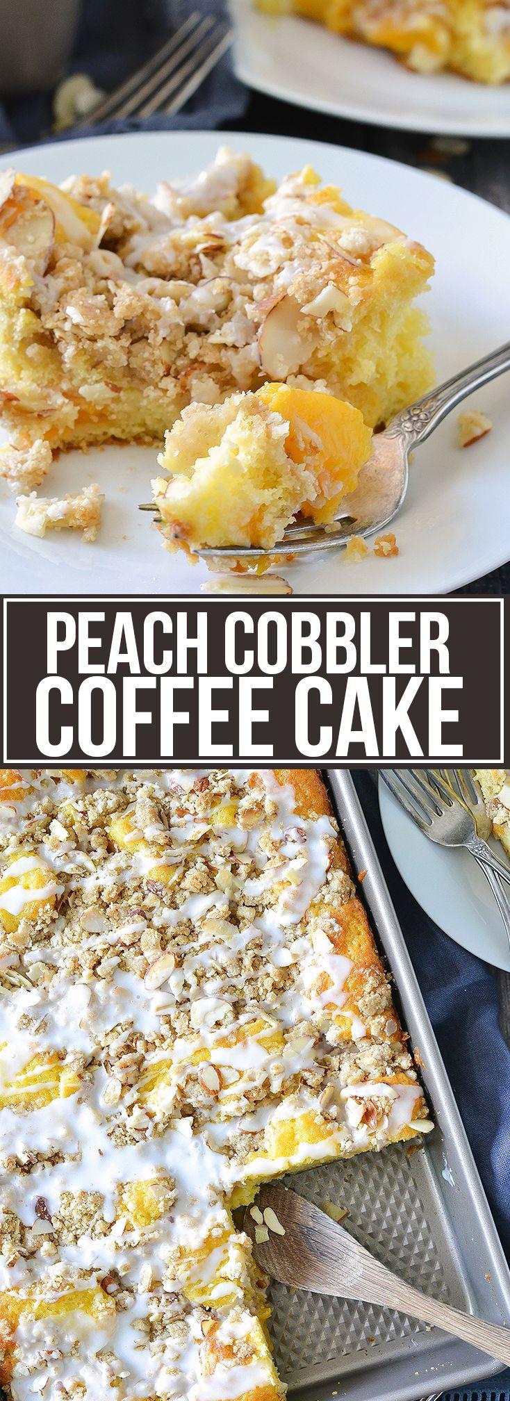 Peach Cobbler Coffee Cake #peachcobblerpoundcake
