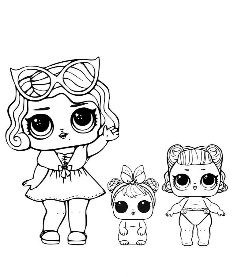 раскраски куклы Lol кукла лол гламур с питомцем и