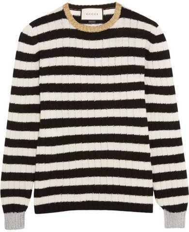 ecd67ceb8ba Gucci - Metallic-trimmed Striped Cashmere And Wool-blend Sweater - White