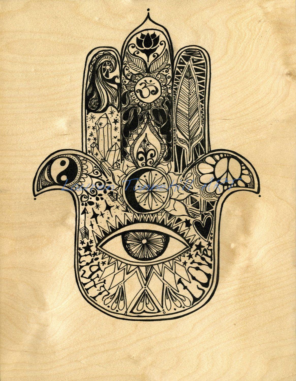 Original Art On Hand Made Wood Panel Hamsa Design By Lauren Tannehill LaurentannehillART Etsy