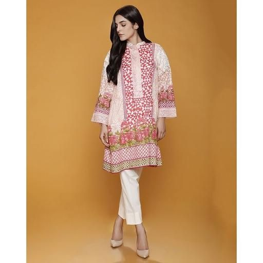 330fbe6946e3 Pink Origins Printed Lawn Kurta With Embroidered On Neck Line ...