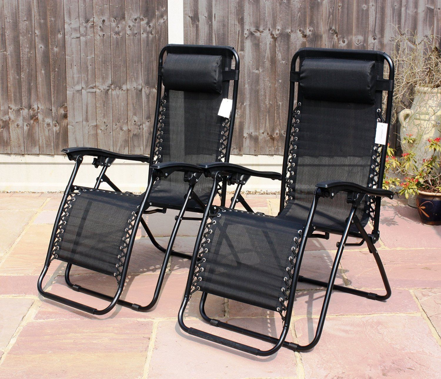 set of 2 garden gravity sun lounger folding sun bed relaxing reclining chairs - Garden Furniture Loungers