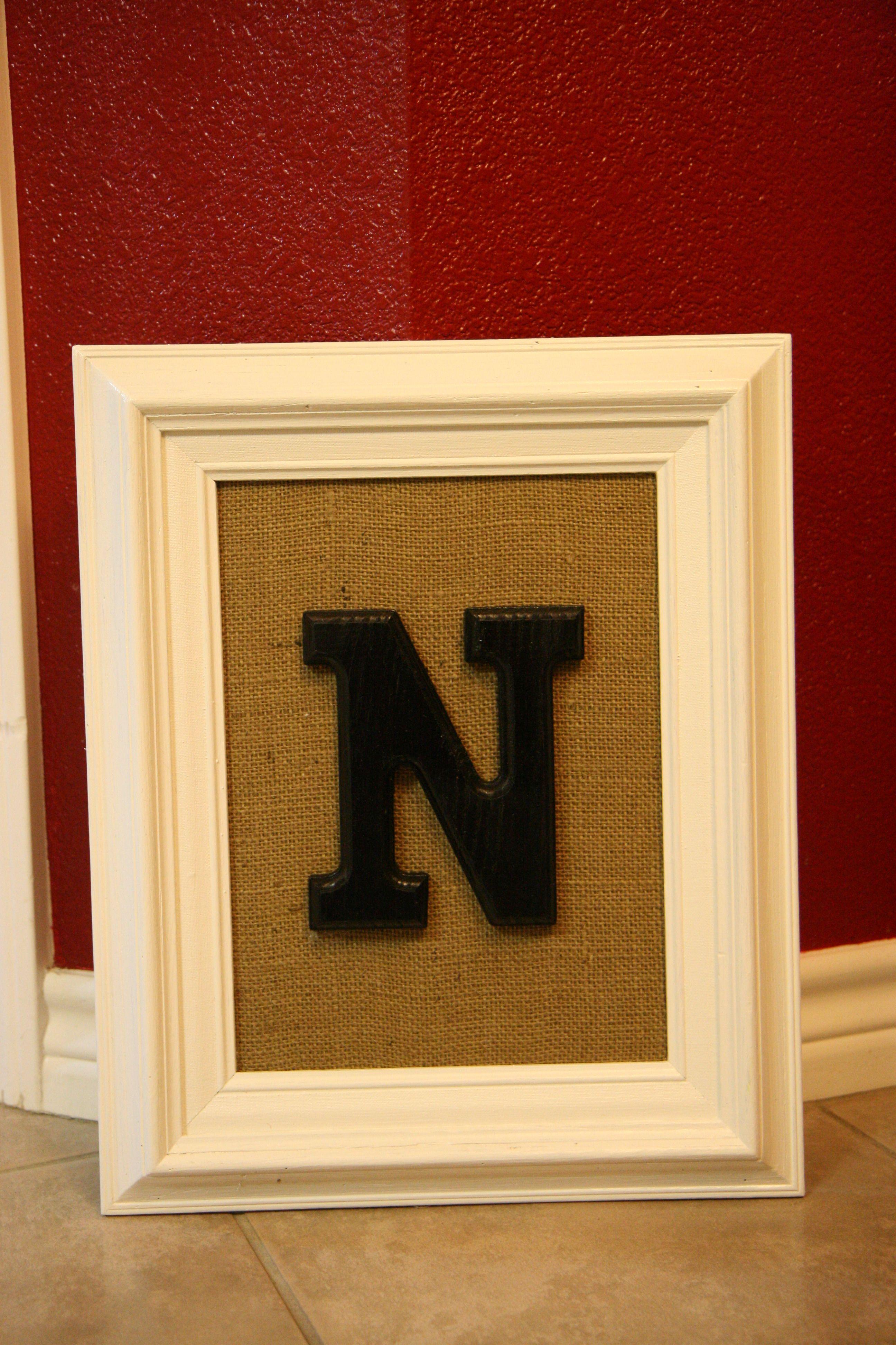 framed burlap wooden letter | Pinspirations | Pinterest | Framed ...
