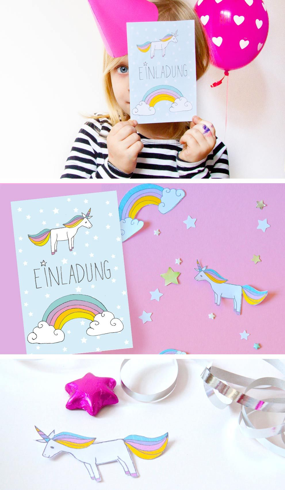 diy einhorn einladung zum kindergeburtstag free printable unicorn einhorn einladung. Black Bedroom Furniture Sets. Home Design Ideas