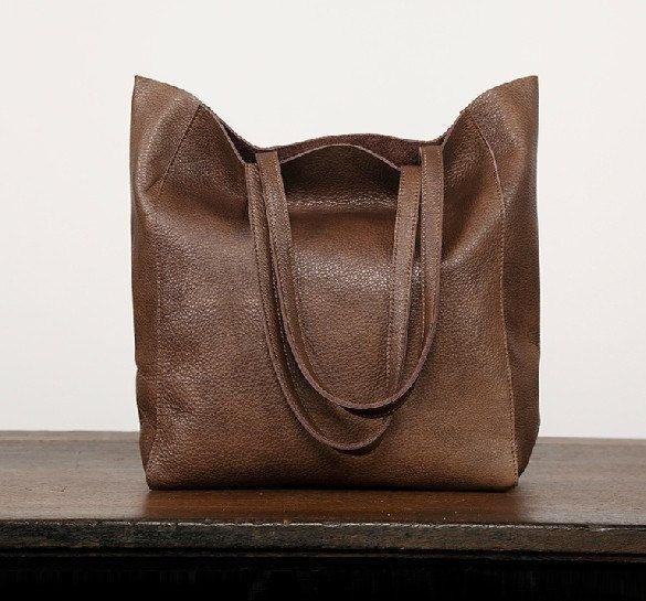 Handmade Large Genuine Leather Tote Bag / by KilikiliOrigional
