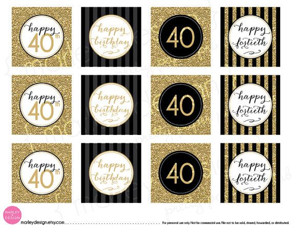40th Birthday Toppers Black Gold Glitter 40th Birthday Decor