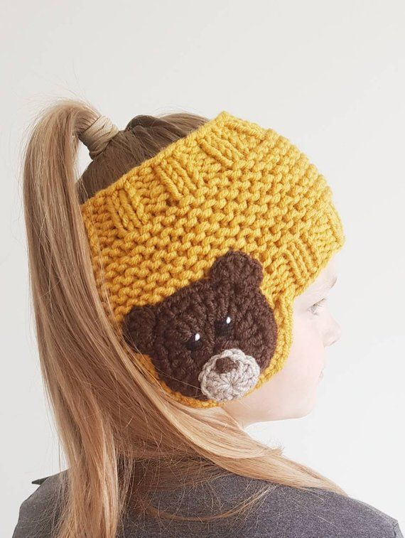 BEAR Headband, Earwarmer, Fall Fashion, Winter Clothing, Kids Outfit, Girls Accessories, Women Fashion, Knit Accessories, Teddy Bear Outfit #crochetbear