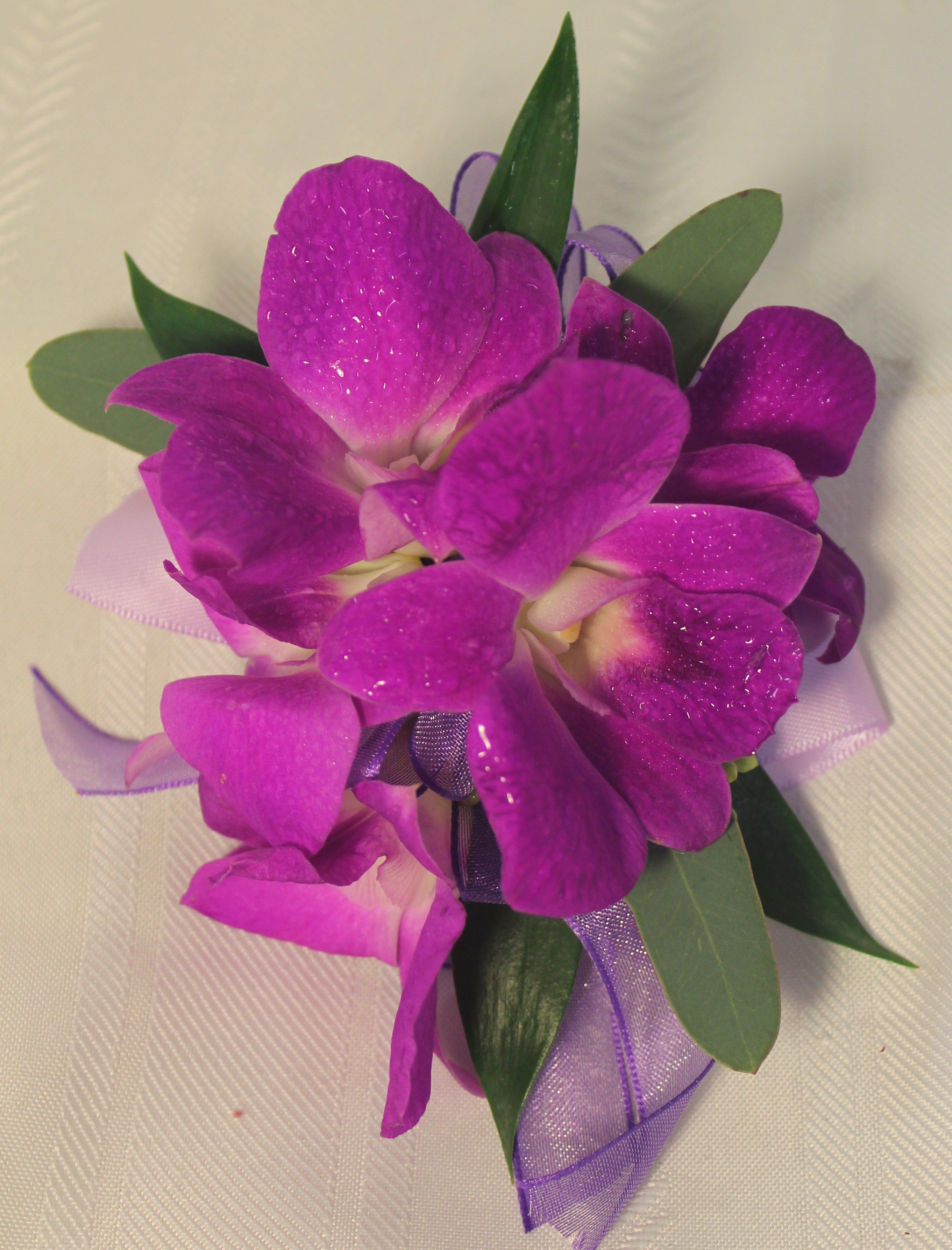 Dendrobium orchid corsage viels hats chapel cathedral wedding