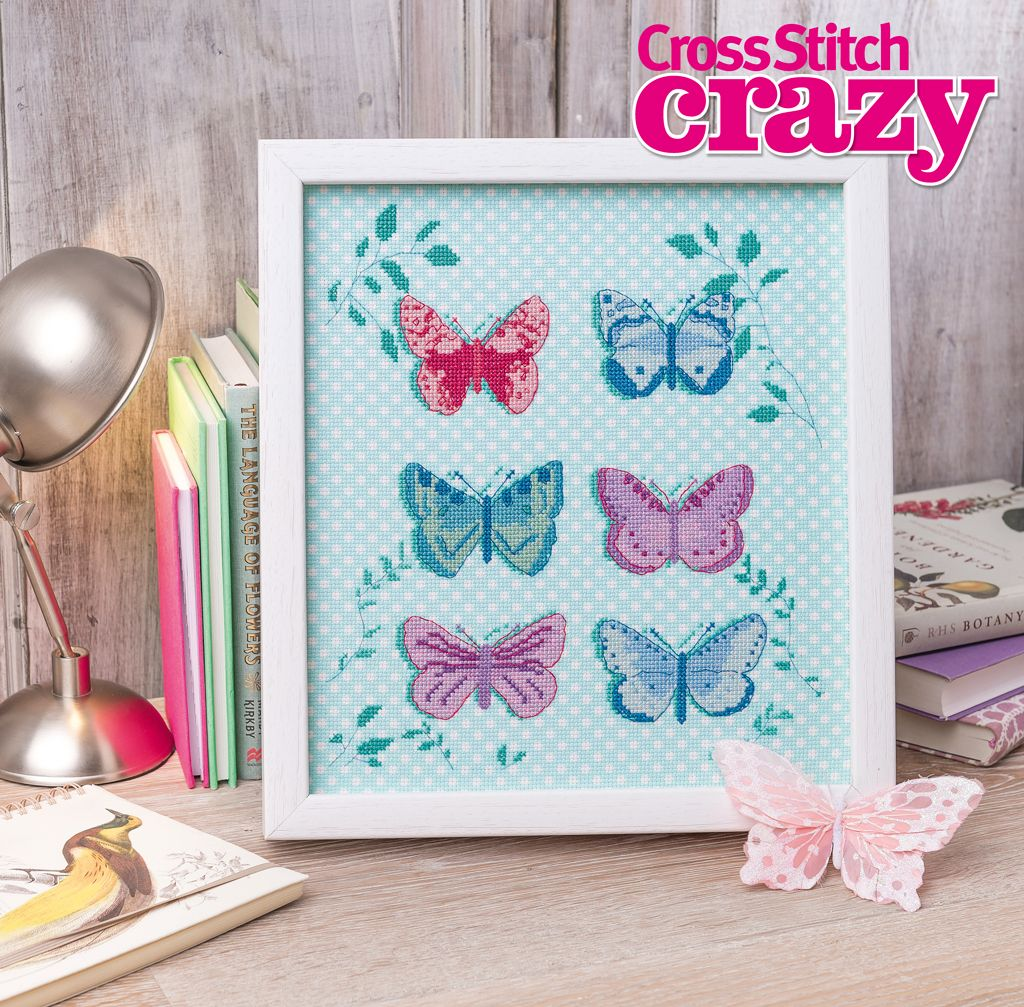 Watch your needle flutter and fly over this gorgeous butterfly design from issue 199 of Cross Stitch Crazy. Click here to buy a copy http://secure3.subscribeonline.co.uk/origin/products.sol?mag=CSCZ or visit your app store to download it to your tablet or smartphone!