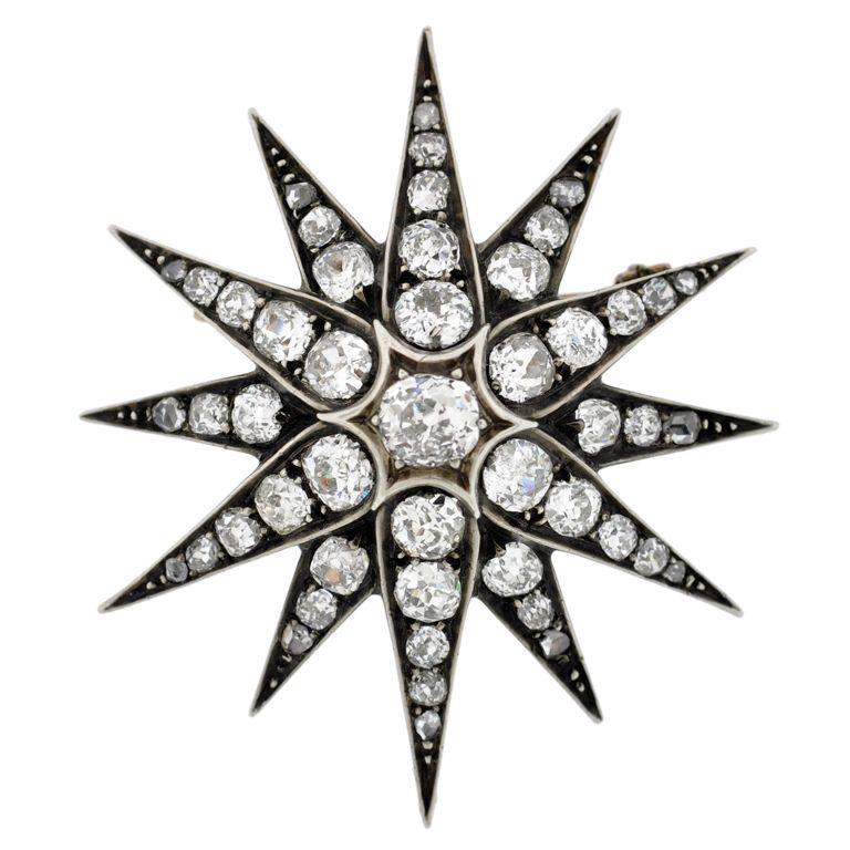 1stdibs.com   Victorian Diamond Starburst Pin/Pendant 4.90ctw