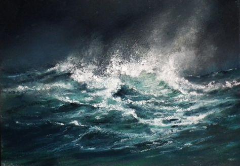 Tableau Peinture Mer Vagues Oceans Tempetes Marine Pastel 2010