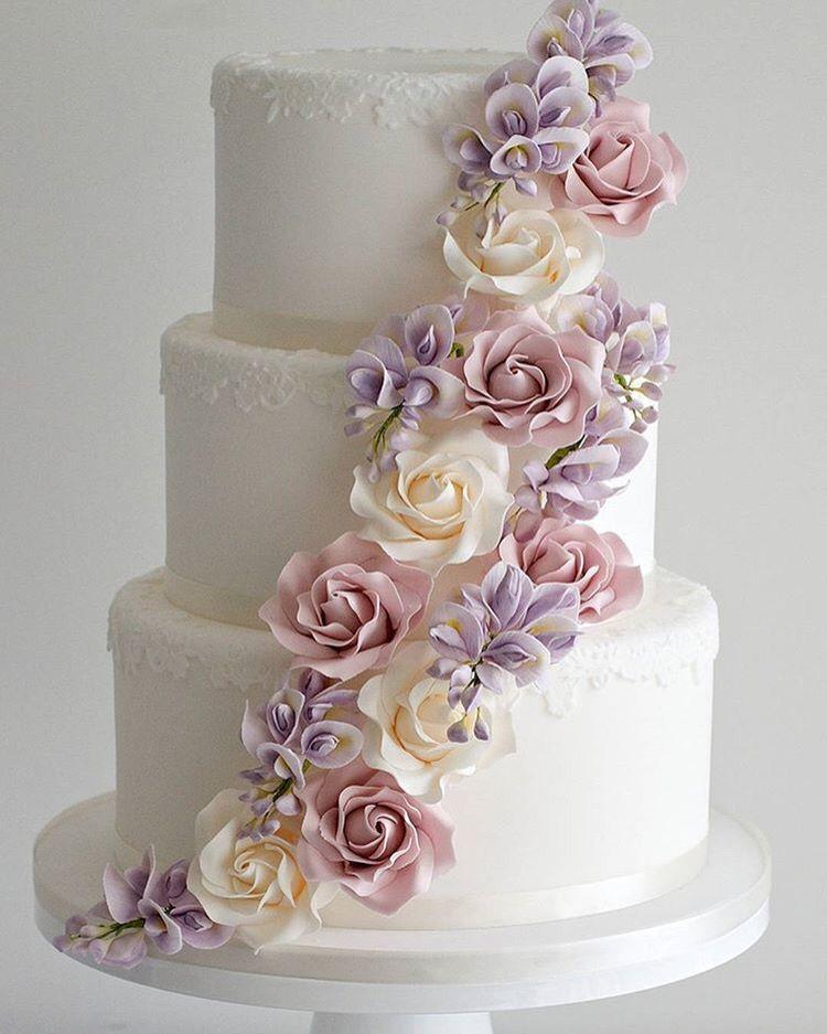 Classic 3 Tier Wedding Cake With Elegant Sugar Flowers Cakes 11