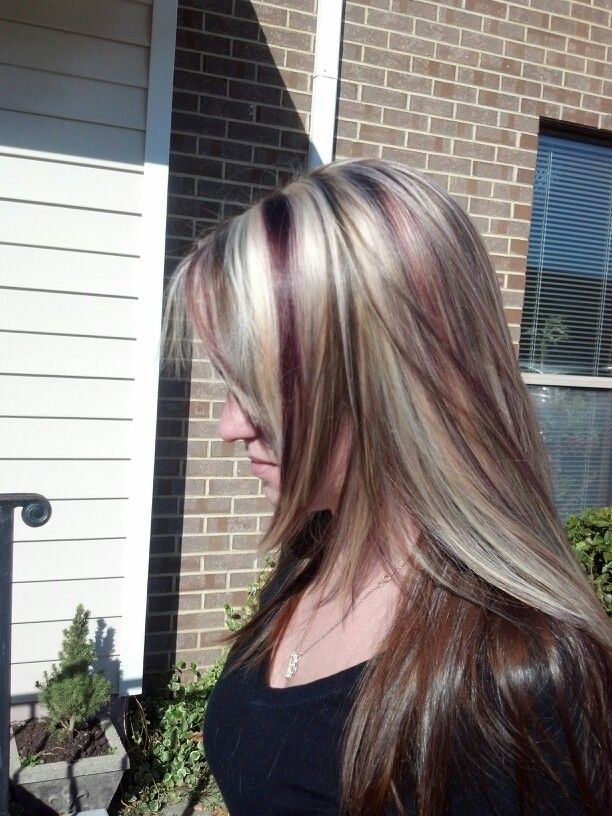 Love It Blonde Highlight With Brown And Burgundy Lowlights