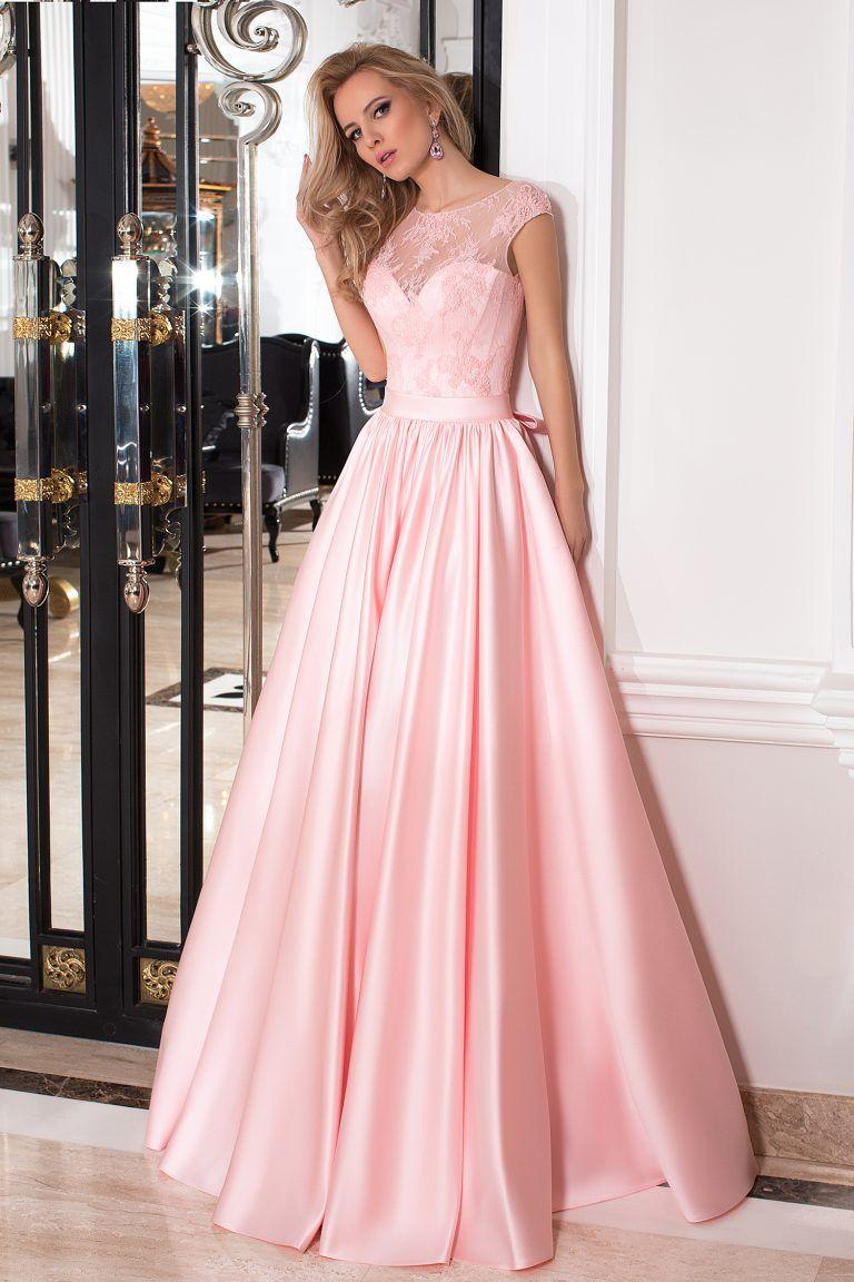 Robe de soirée rose ornée de dentelles | Vestidos elegantes ...