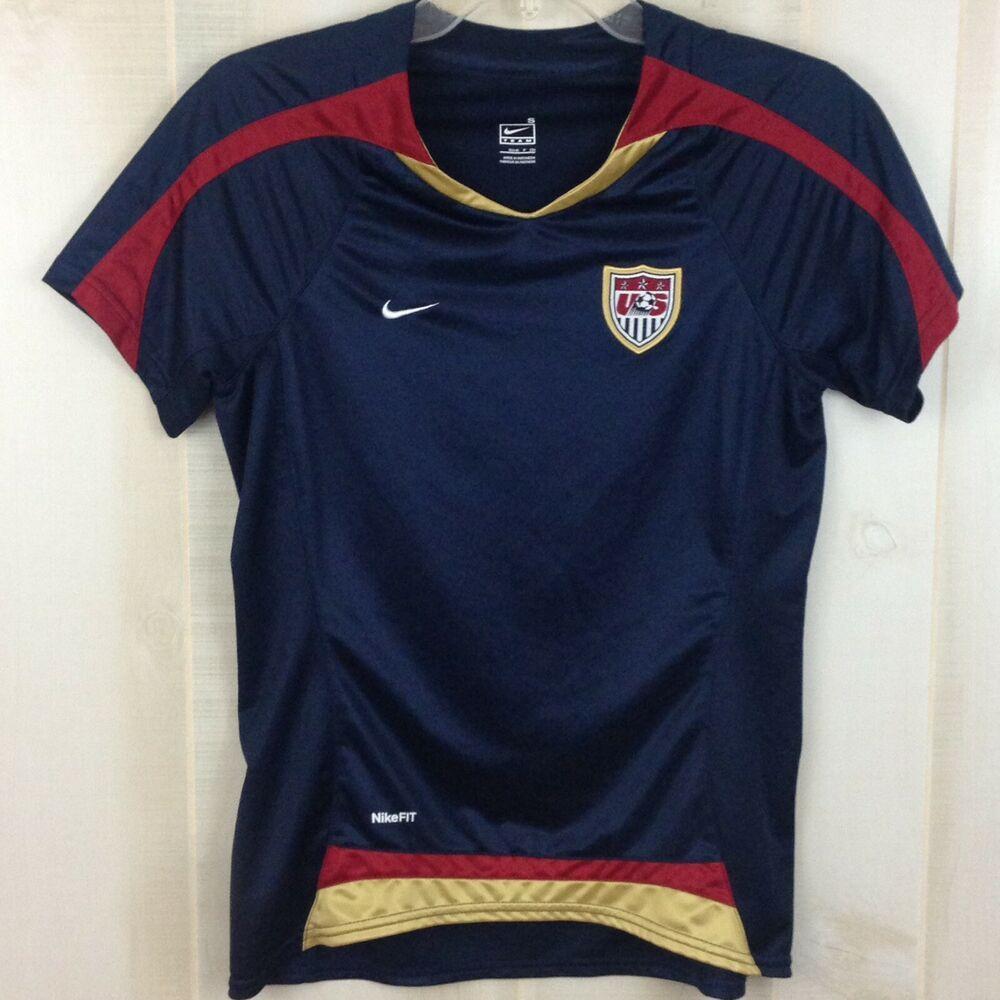 4b86bb8b Nike Womens Soccer Team US Top NikeFit V-Neck Embroidered Crest Emblem S (4