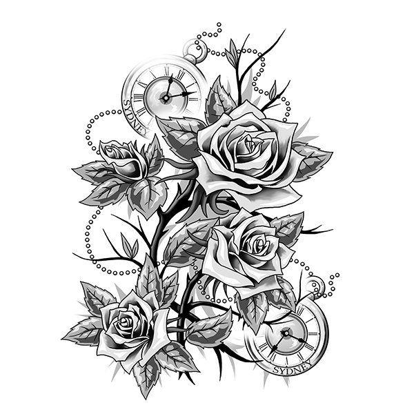 Roses And Clocks Tattoo Design