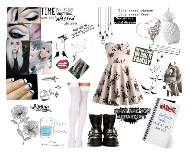 """""""Thought I'd try something new..."""" by fridaynightscars ❤ liked on Polyvore featuring Alexander McQueen, Tatty Devine, Wite, Barbed and WallPops"""