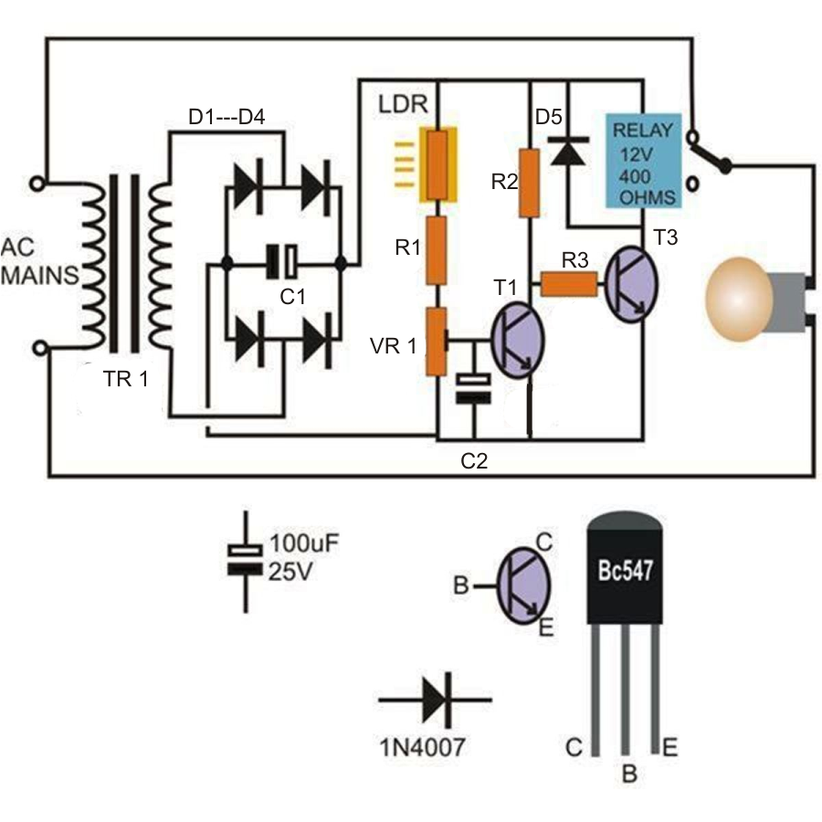 How To Wire A Day Night Switch Diagram 2010 Ford Ranger Radio Wiring Light Lamp With 3 Way Library Make Activated Circuit Science Fair Project Homemade