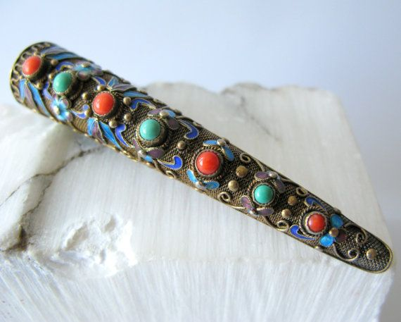 Cloisonne Enamel Fingernail Guard Pin Brooch, Chinese Gilt Vermeil Sterling Silver