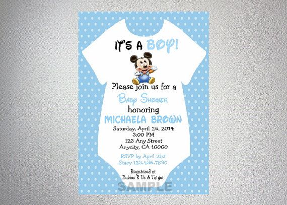 baby mickey mouse onesie boy baby shower by dpiexpressions on etsy, Baby shower invitations