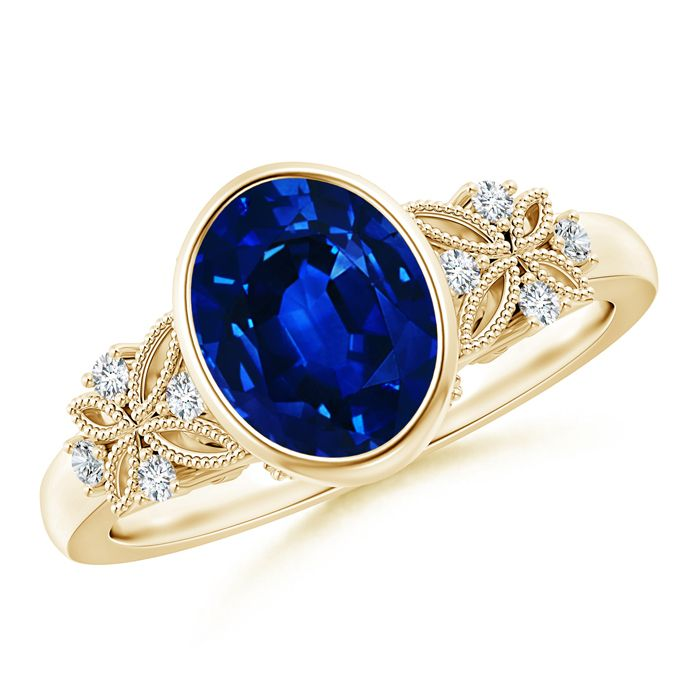 Angara Bezel Framed Oval Sapphire and Diamond Vintage Ring in 14k Yellow Gold sWEWiuzz