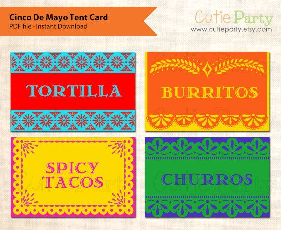 tent card mexican food tags gift tags favor tags table place cards