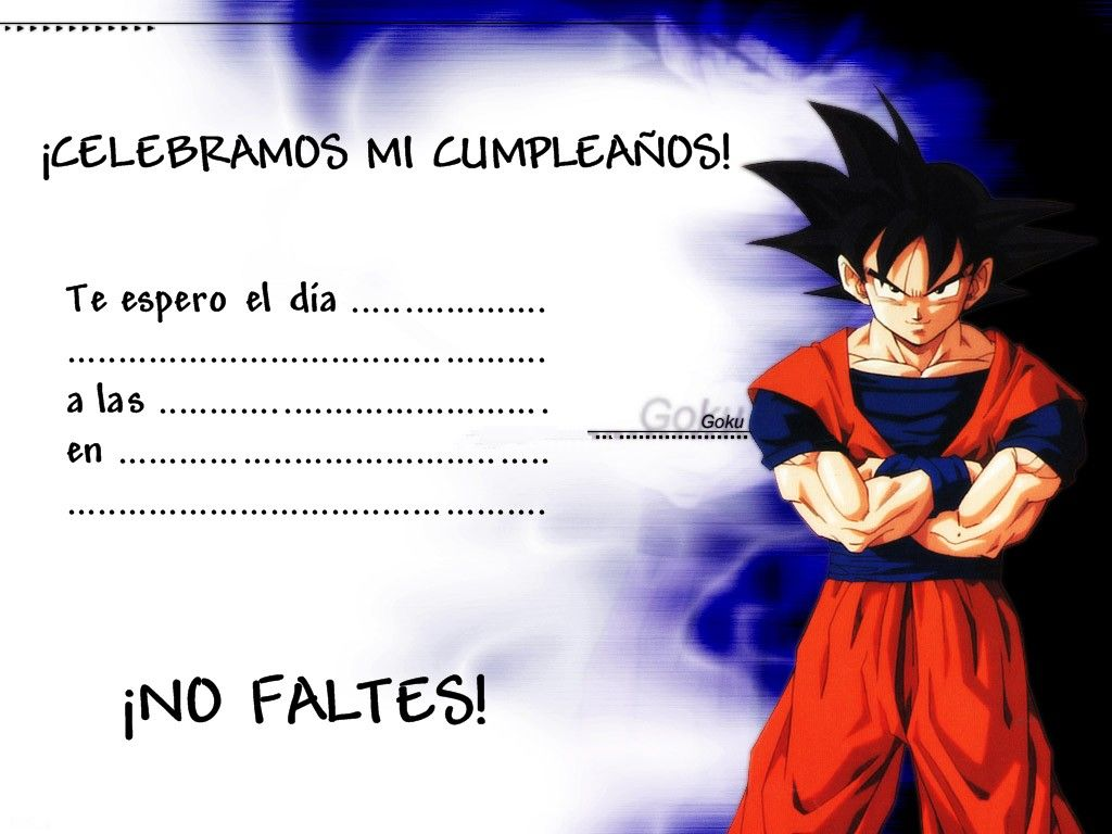 Tarjetas De Invitacion A Cumpleaños De Dragon Ball Z Para