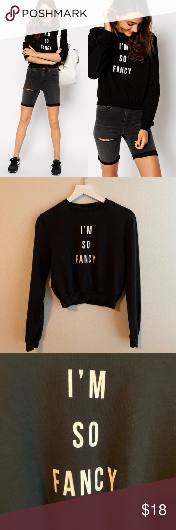 ASOS Cropped Sweatshirt with I'm So Fancy Print used in
