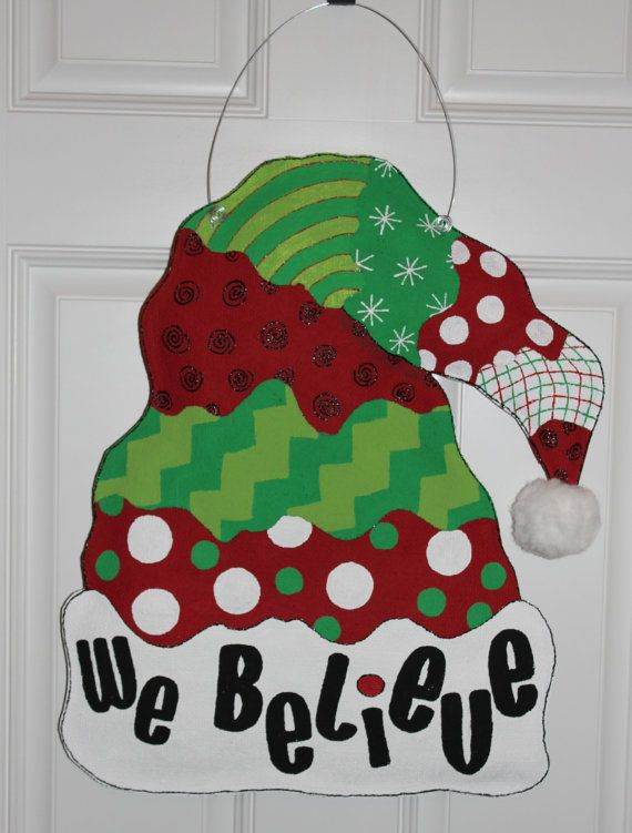 Painted Burlap Door Hangers Christmas
