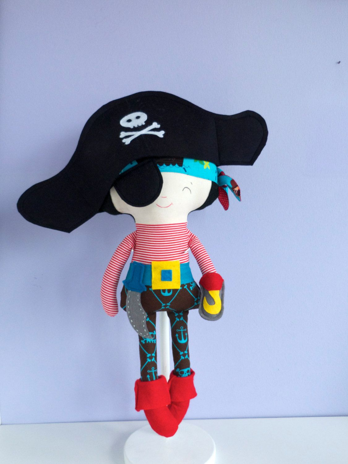 Pirate handmade fabric doll by Owlsandco on Etsy https://www.etsy.com/listing/164024395/pirate-handmade-fabric-doll