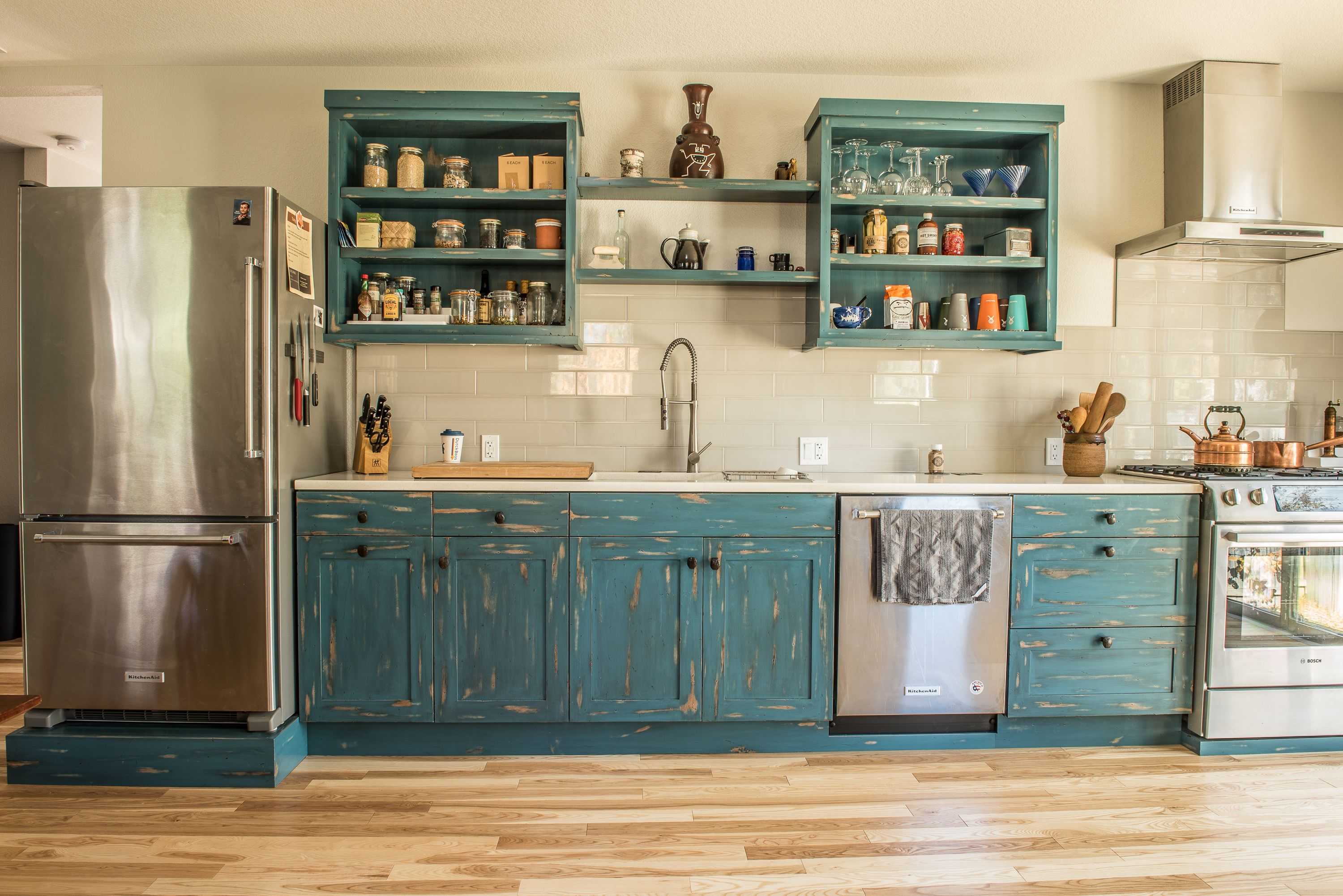 Galley Kitchen W Distressed Teal Cabinets Rail Road Spike Pulls Teal Cabinets Kitchen Galley Kitchen