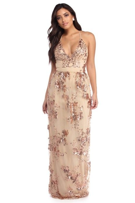 Natural Isabelle Sleeveless Sequin Dress | store prom dresses ...