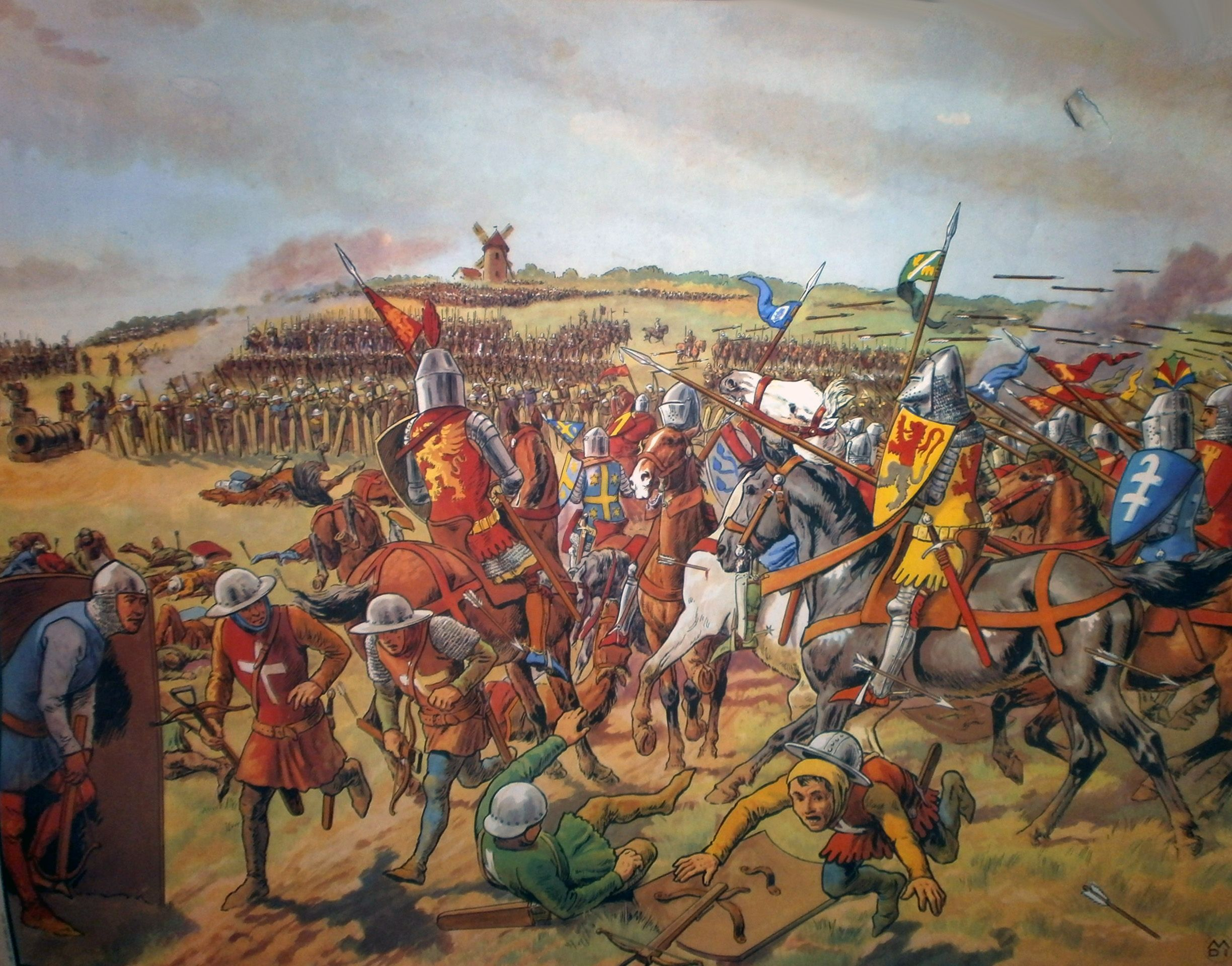 english troops assault the french fleet on the orne river under french knights and italian pavise crossbowmen under fire at the battle of crecy 100 years
