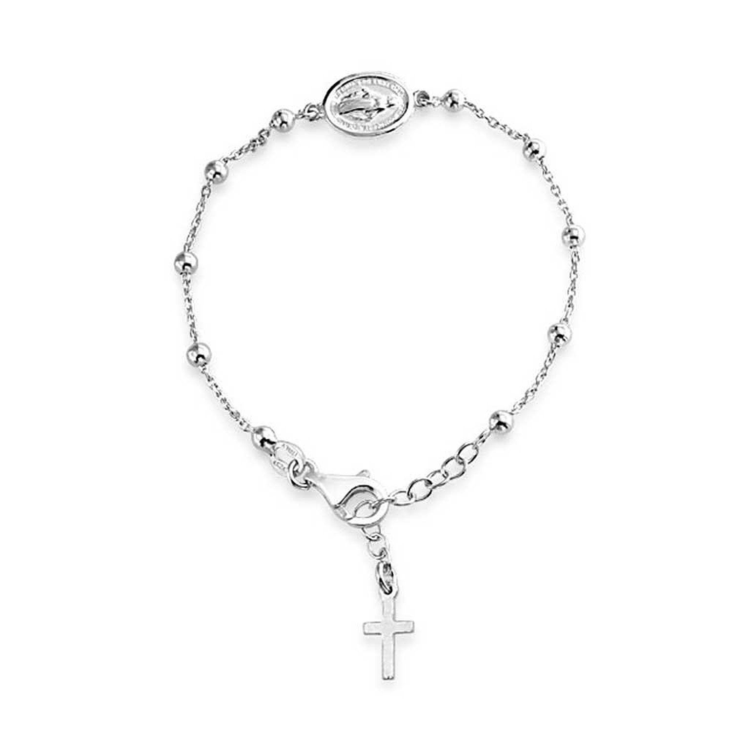Bling jewelry sterling silver rosary beads mother mary medallion