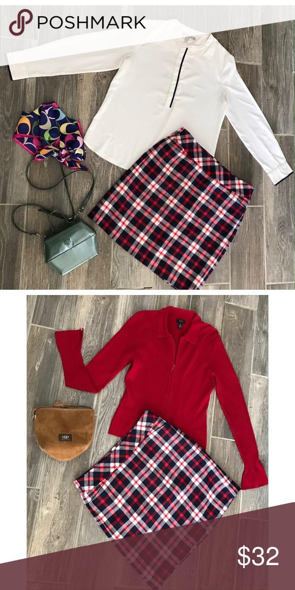6e63a1a0c Talbots Wool Plaid Skirt Red, white and blue tartan Plaid wool skirt ...