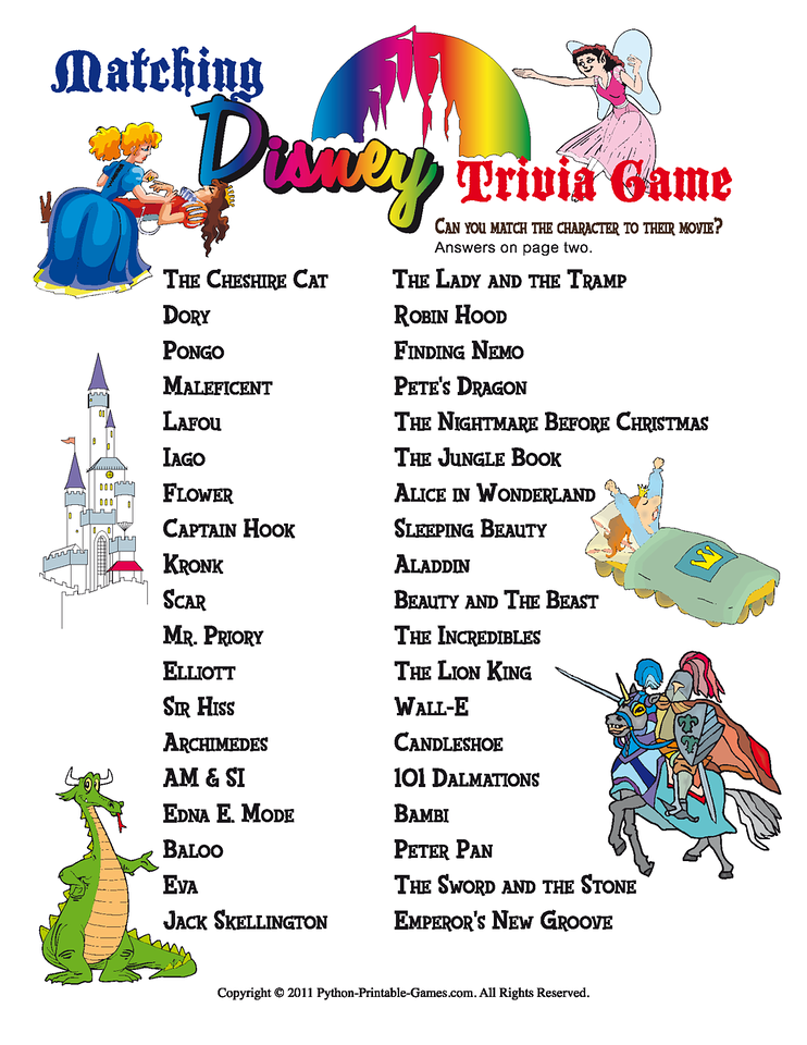 Cartoon Characters Quiz Questions And Answers : Disney printable party games trivia match game
