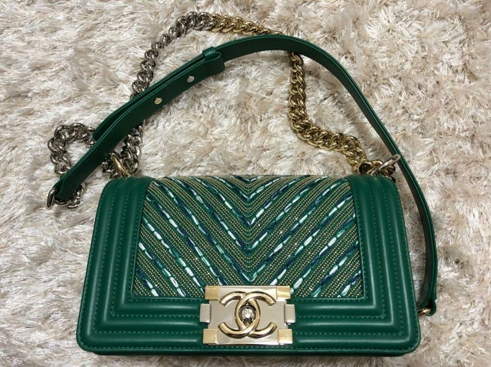 Chanel Boy Chain Shoulder Bag Green Gold Rare Color Never Used Chanel Handbag Chanel Boy Chain Bags Chain Shoulder Bag