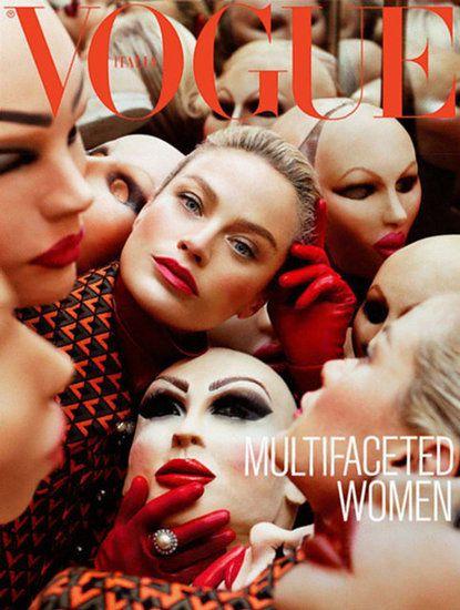Creepy Carolyn Murphy on Vogue Italia September issue.