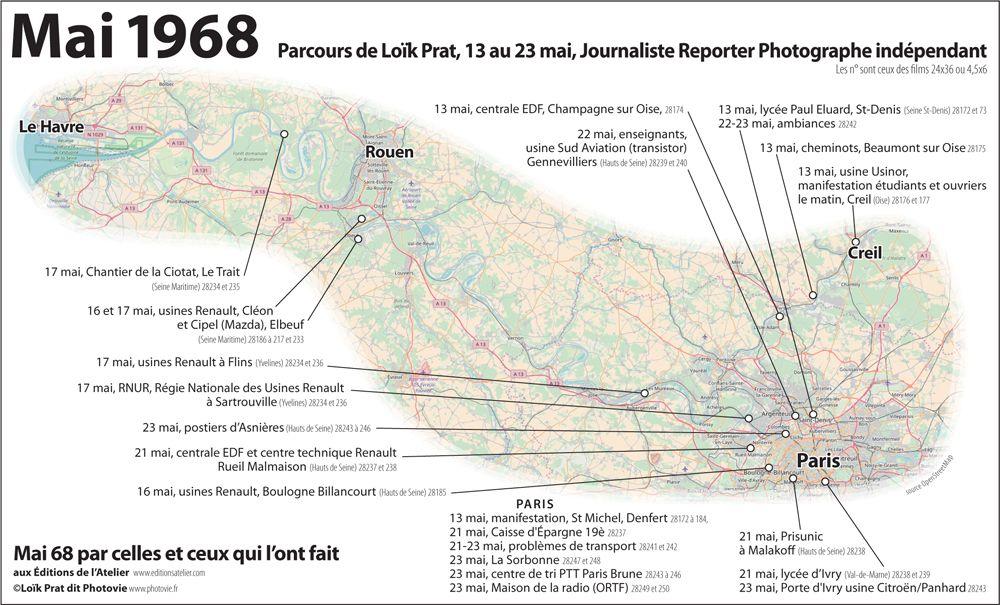 Carte Du Parcours De Loik Prat Du 13 Au 23 Mai 1968 En Region