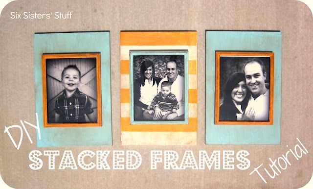 stacked frames...very cool way to match frames with decor!