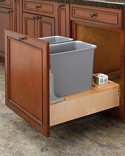 Rev A Shelf 4wcbm 2430dm 2 Rev A Motion Double 30qt Bottom Mount Wood Pullout Waste Container Maple Silver Polymer Trash Can Cabinet Rev A Shelf Wood Waste