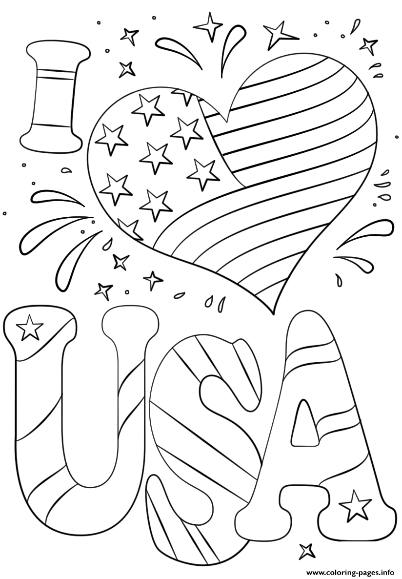Print I Love Usa 4th July Coloring Pages Coloring Pages