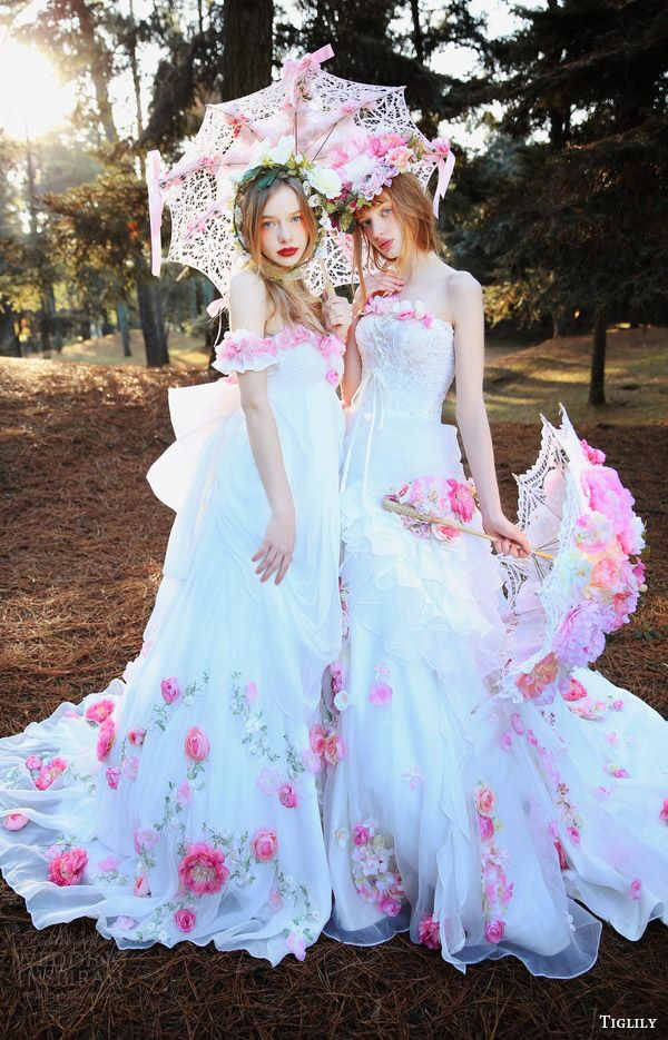 8a76b203fd3b2 tiglily bridal 2016 off shoulder wedding dresses pink flowers heidi and  michael