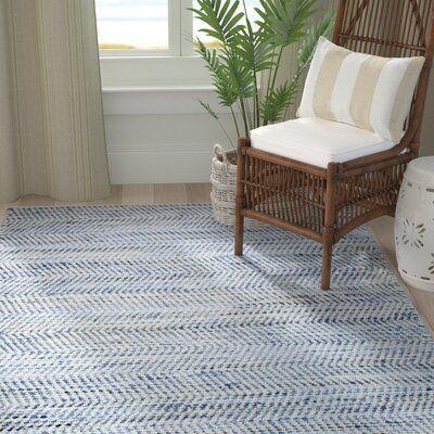 Highland Dunes Latour Handwoven Cotton Blue Rug   Wayfair