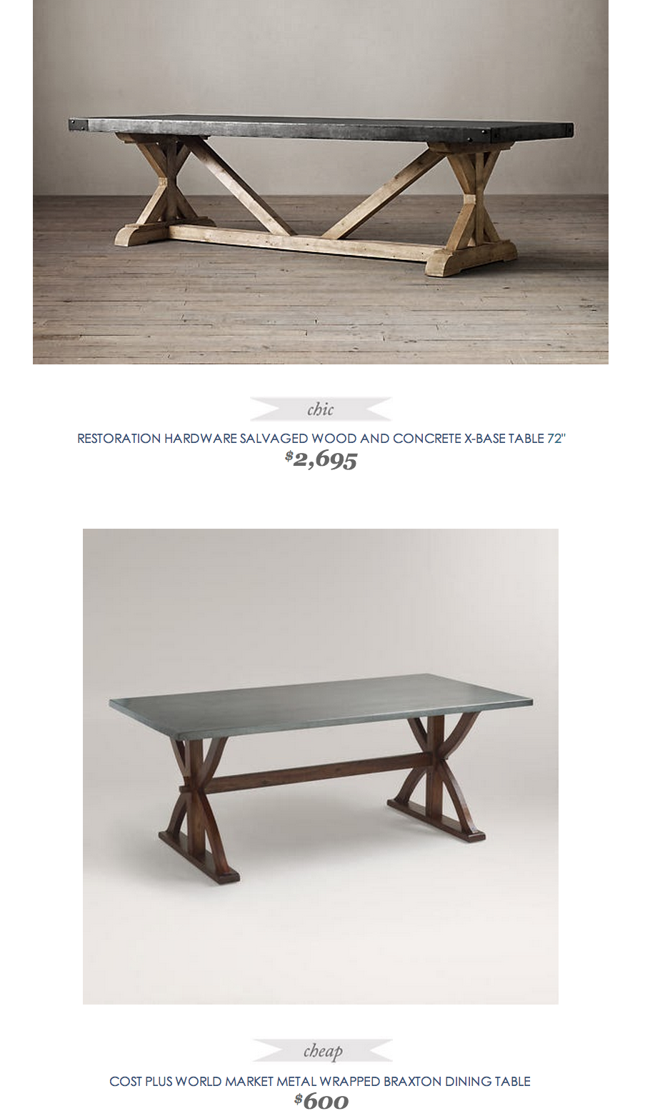 Restoration Hardware Salvaged Wood And Concrete X Base Table