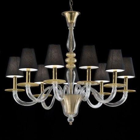 """Leda"" Murano glass chandelier - 9 lights - transparent and gold"