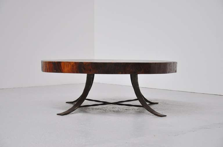 Tree Trunk Huge Coffee Table With Wrought Iron Base 1960