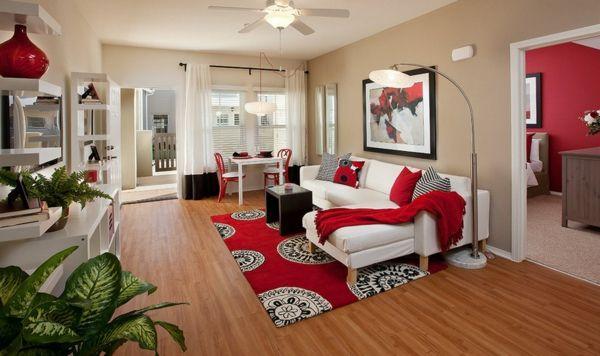 Die Wohnung Gemütlich Einrichten Modern Rot Akzente Teppich Sofa Decken