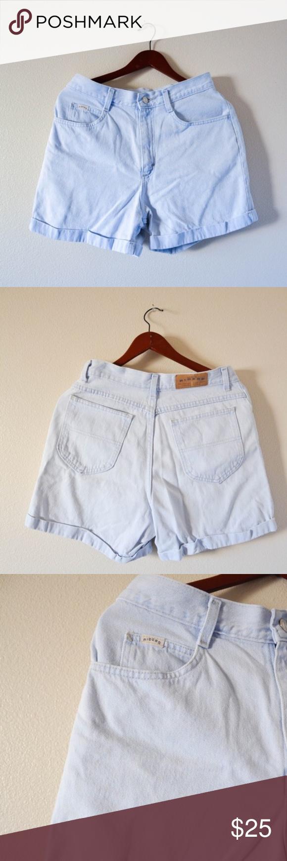 Vintage 80's 90's RIDERS denim cuff shorts riders // vintage 80's-90's // size 10 M  //condition// tags are a bit worn down, maybe a loose thread somewhere, but in really good aesthetic condition  //measurements// waist: 14 inches hips: 19 inches length: 16 inches inseam: 4 inches Vintage Shorts Jean Shorts