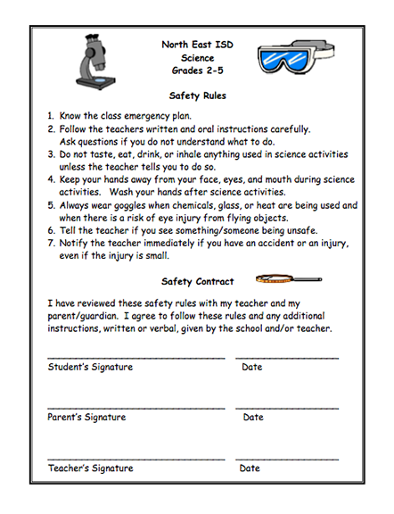 Here's a safety contract for grades 2-5. Also available in Spanish ...